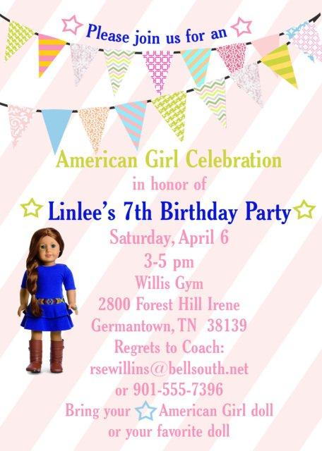 American Girl Doll Invitations Wording