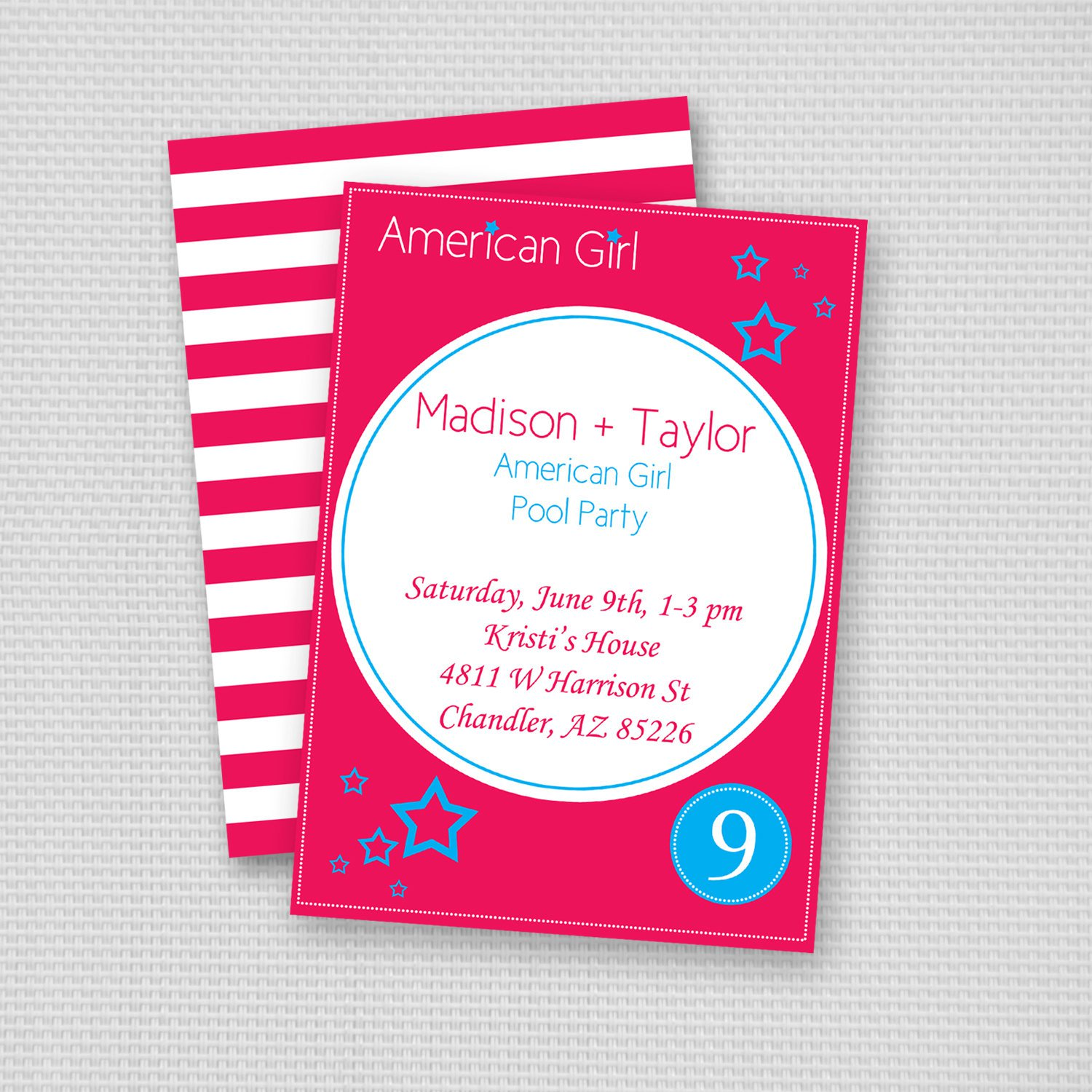 American Girl Invitations Printable