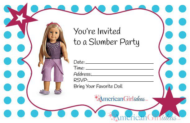 American Girl Party Invitations Printable
