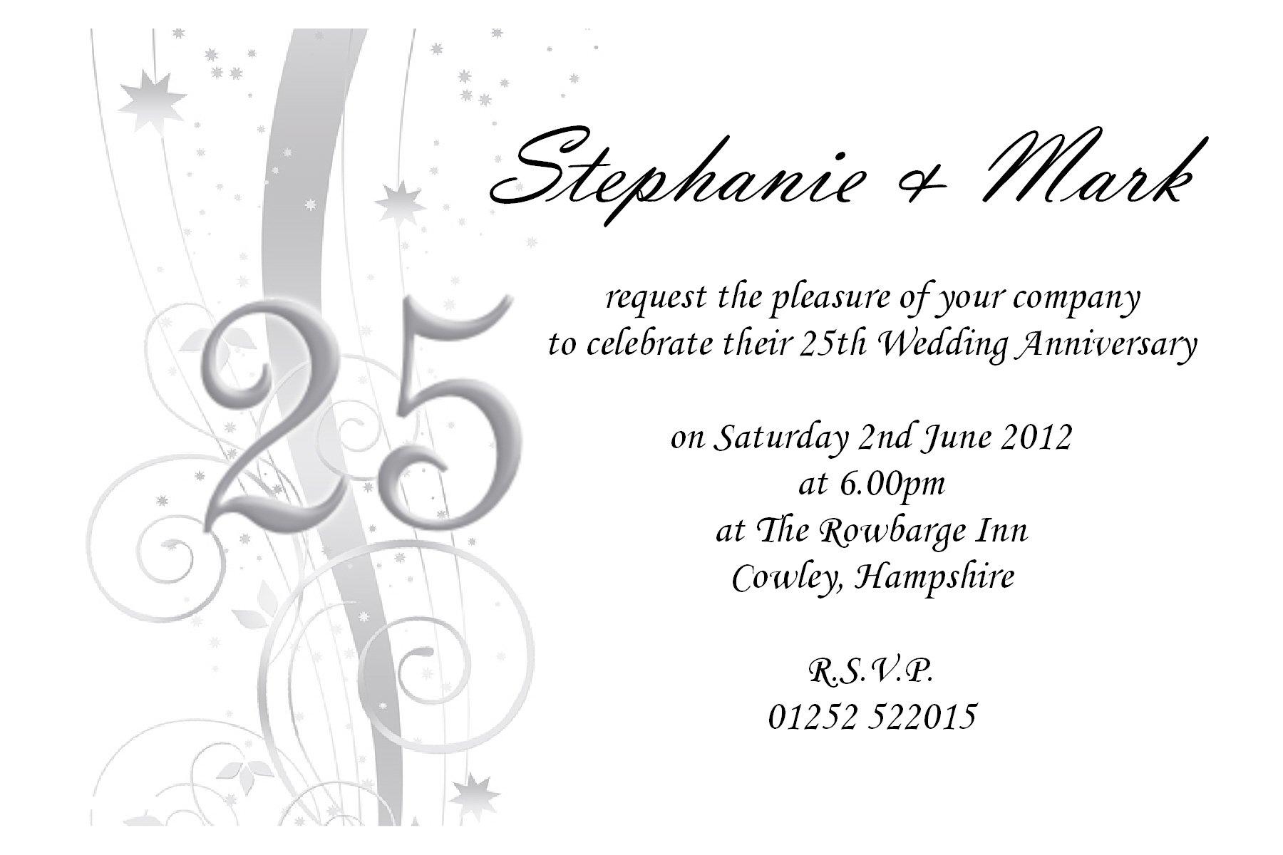 Anniversary Party Invitations Templates Free