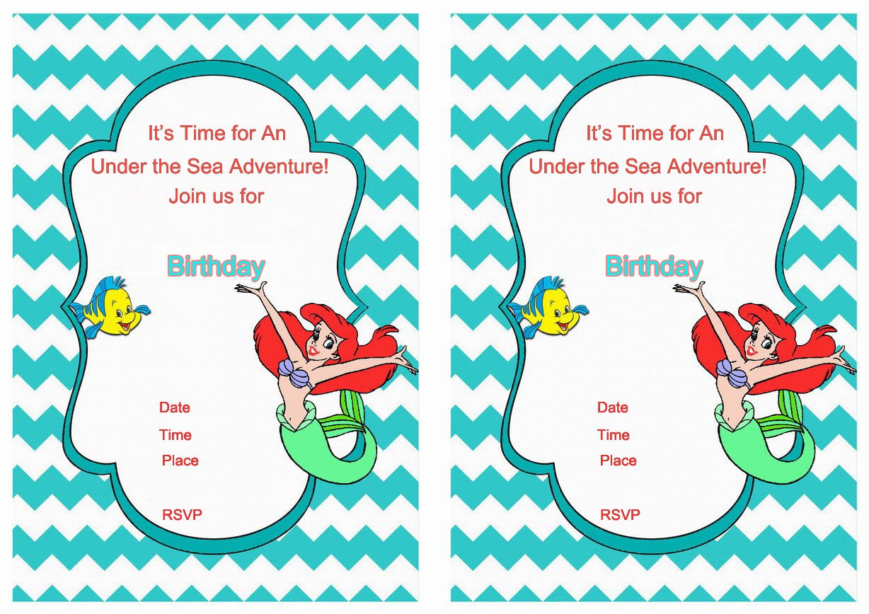 Ariel Printable Birthday Invitations