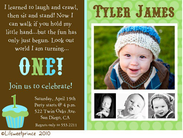 Baby Boy 1st Birthday Invitation Templates