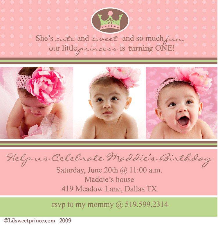 Baby Girl 1st Birthday Princess Invitations