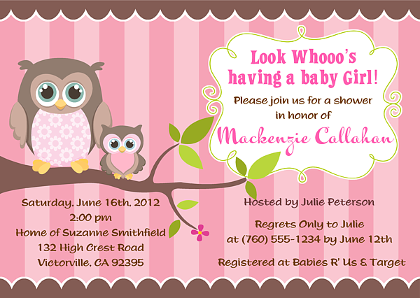 Baby Girl Owl Birthday Invitations
