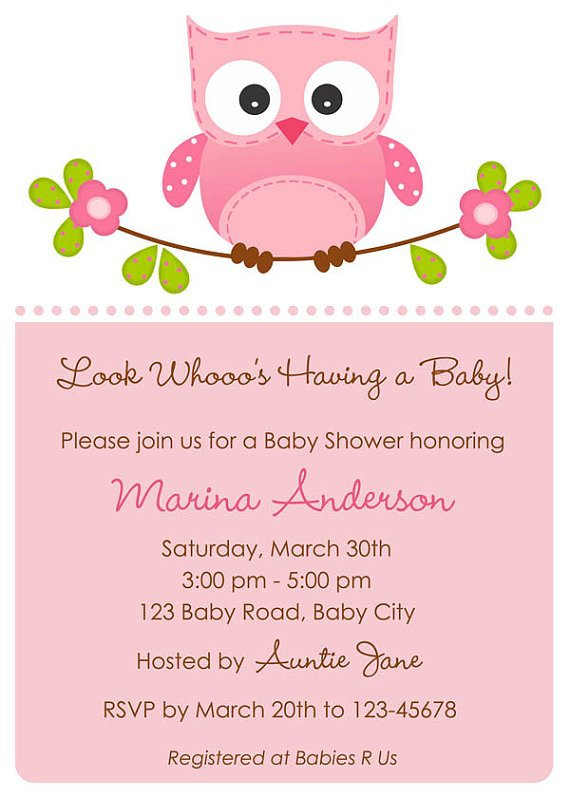 Baby Girl Owl Invitations