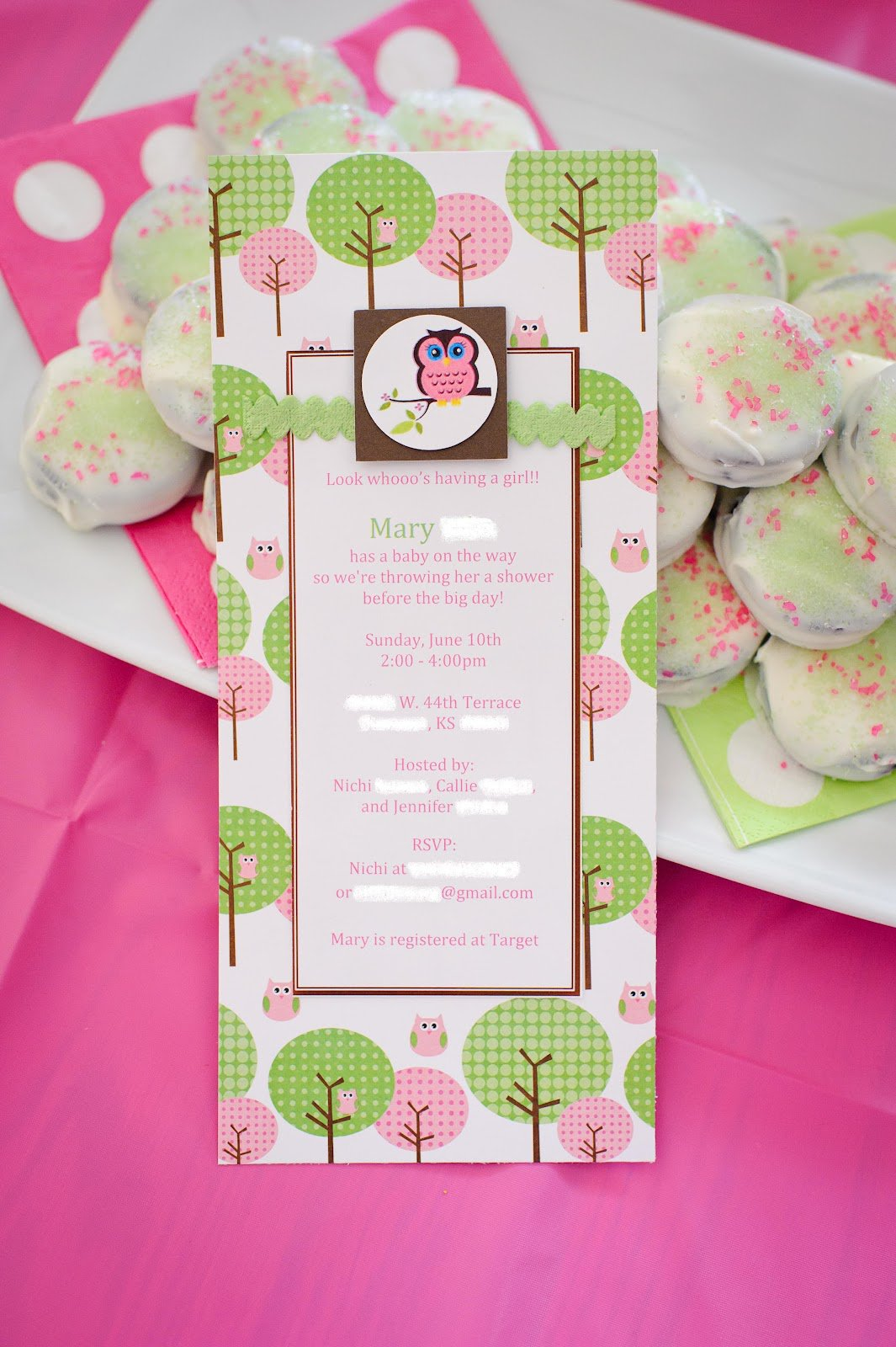 Baby Girl Shower Invitations Owl Theme