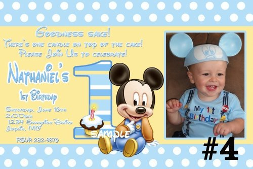 Baby Mickey 1st Birthday Personalized Invitations