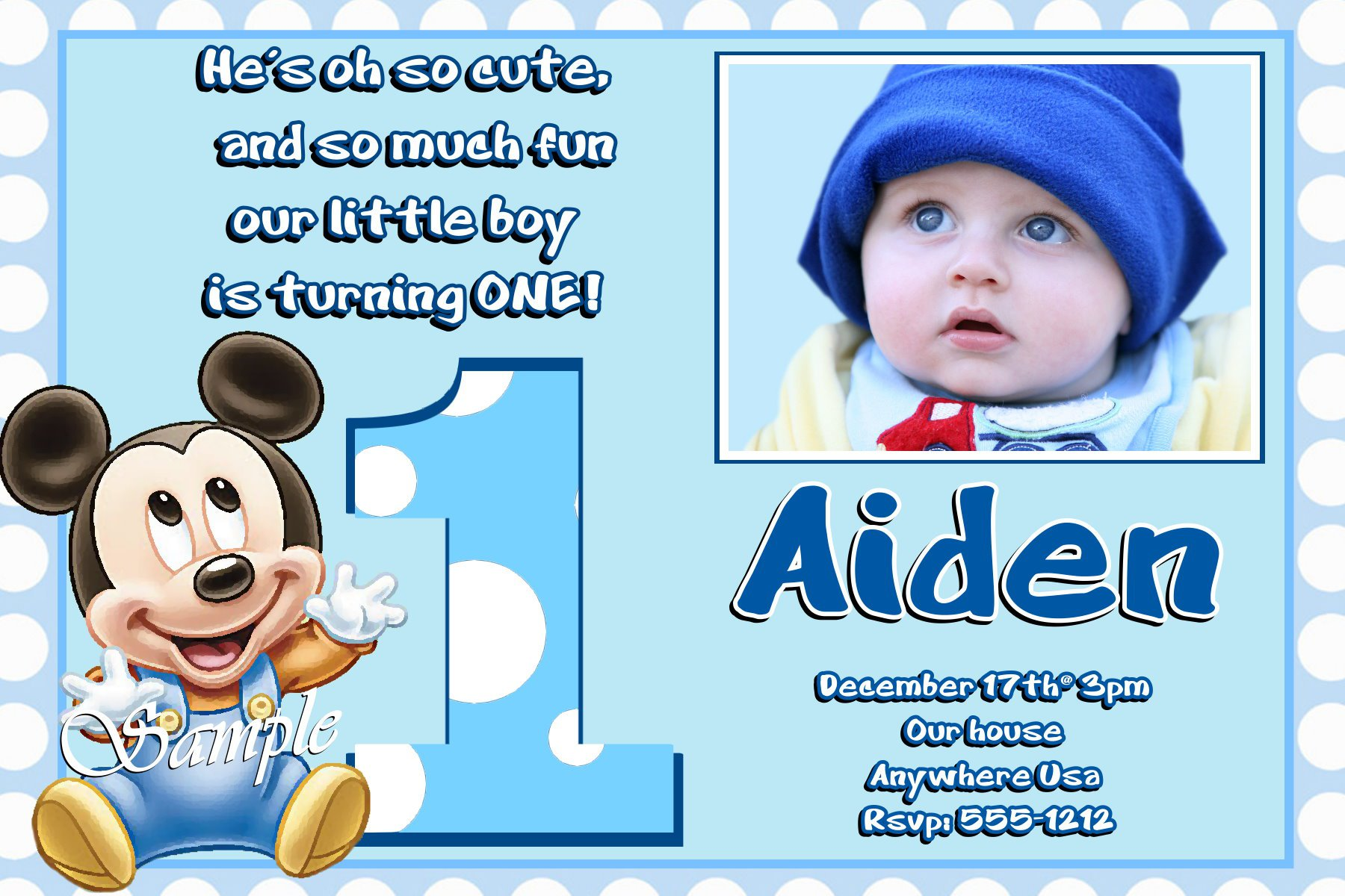 Baby Mickey Mouse Printable Invitations