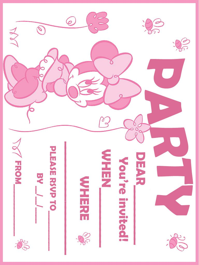 Baby Minnie Mouse Blank Invitations