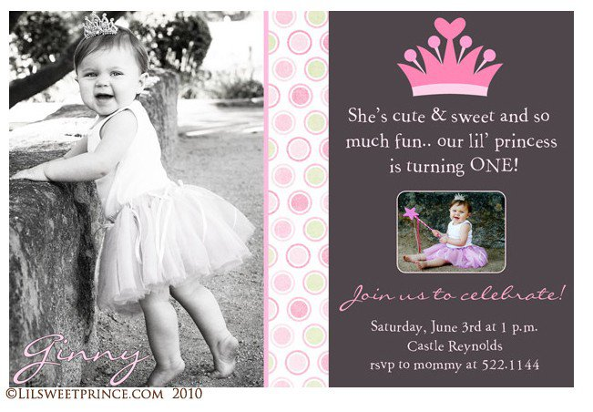 Princess 1st Birthday Invitation – 1st Birthday Princess Invitation