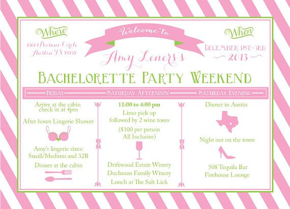 Bachelorette R Nweekend Itinerary Templates