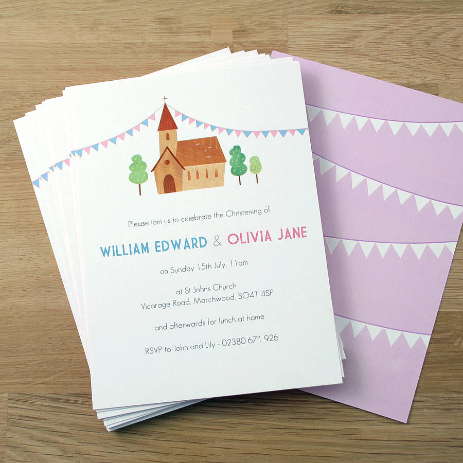 Baptism Invitation Cards For Twins