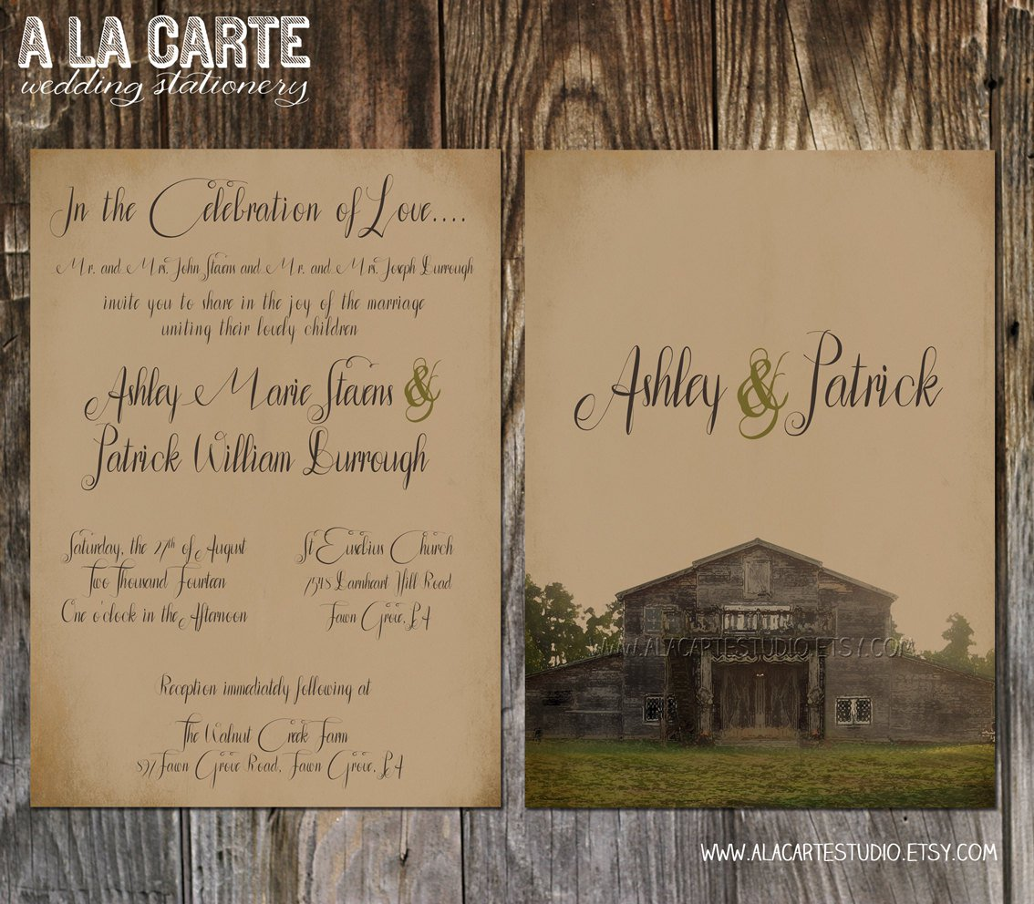 Barn Wedding Invitations Templates