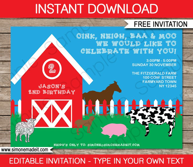 Barnyard Invitation Templates