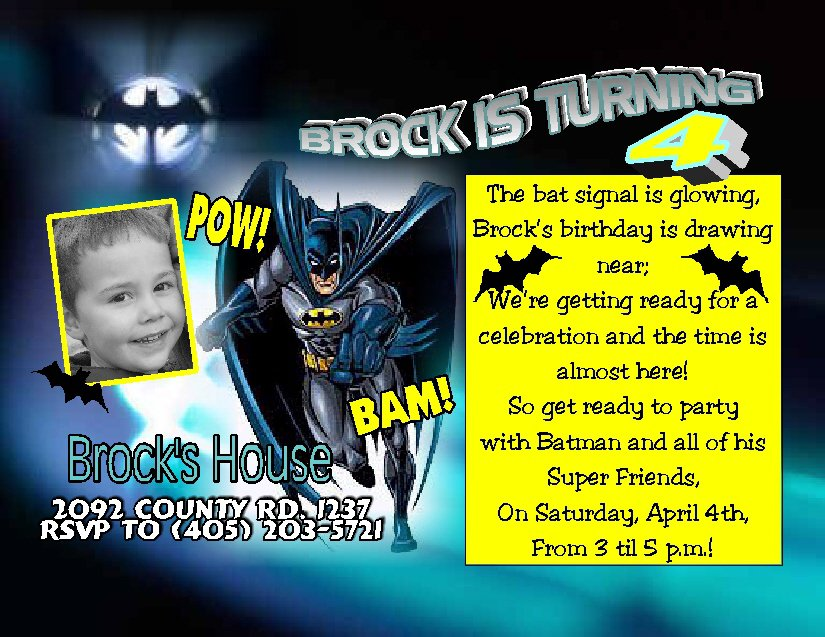 Batman Invitation Templates