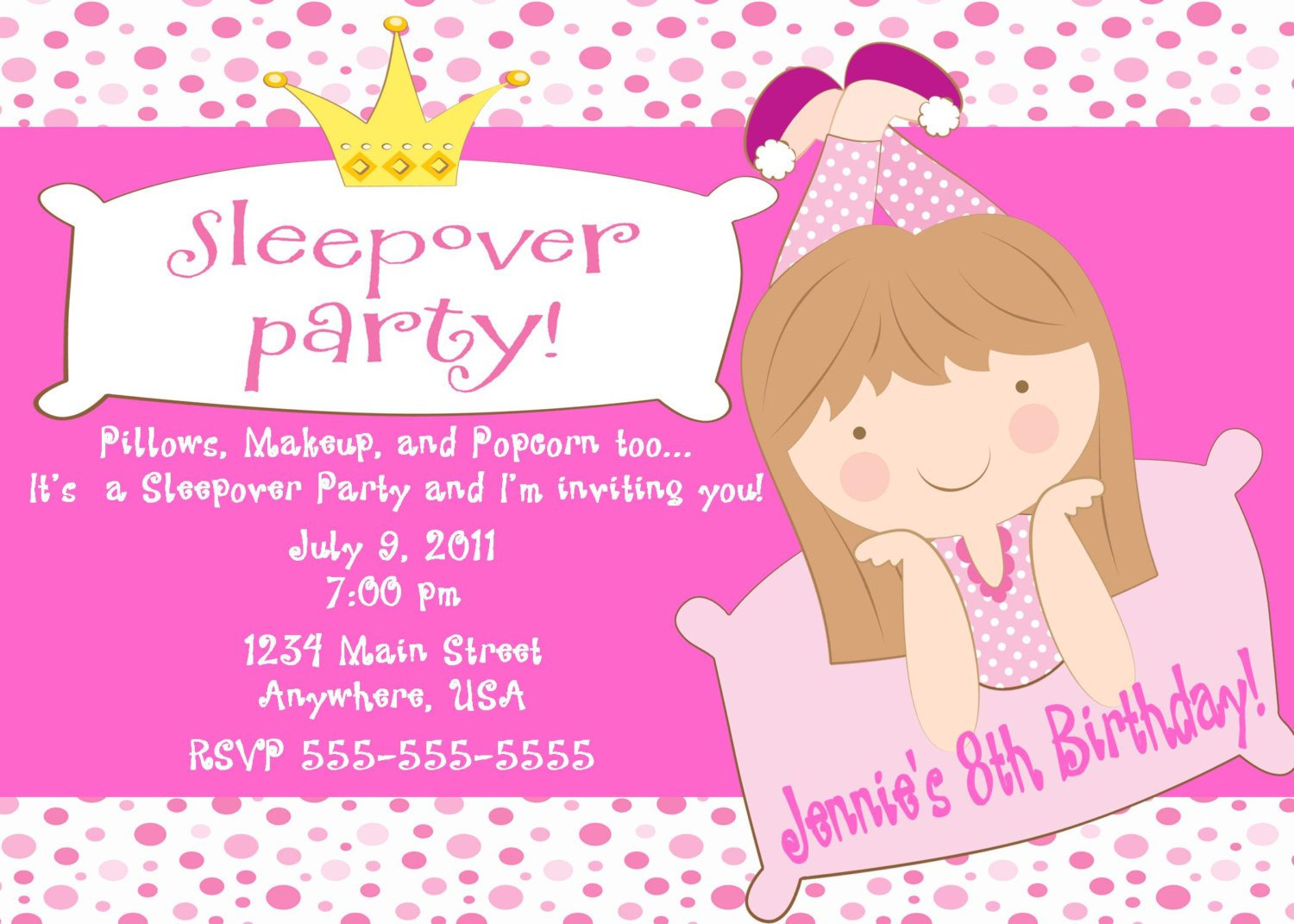Birthday Invitation Wording Sleepover