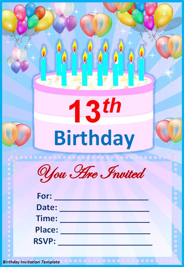 Birthday Invitations Templates For Word