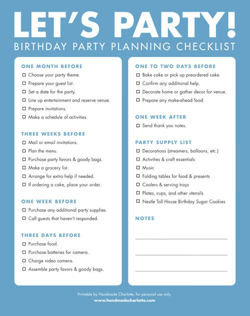 Birthday Party Checklist Template Excel