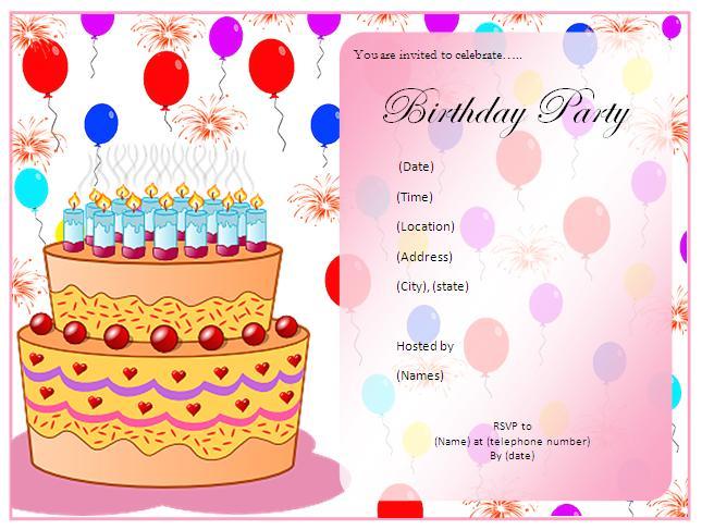 Birthday Party Invitation Free Templates