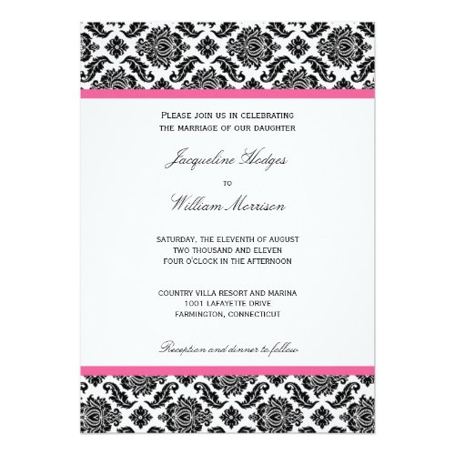 Black And White Damask Invitations