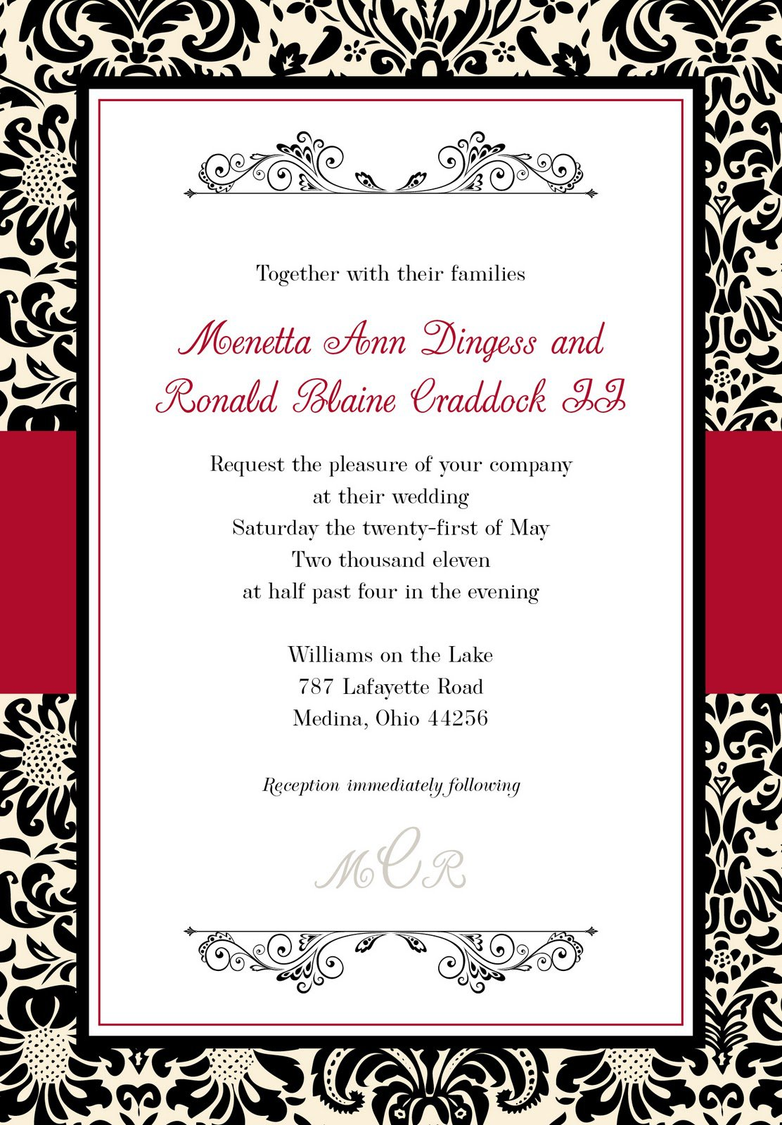 Black And White Damask Invitations Template