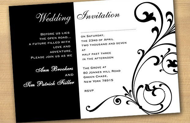 Black And White Wedding Invitation Templates
