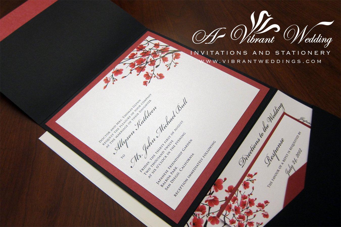 Black Blank Pocketfold Invitations