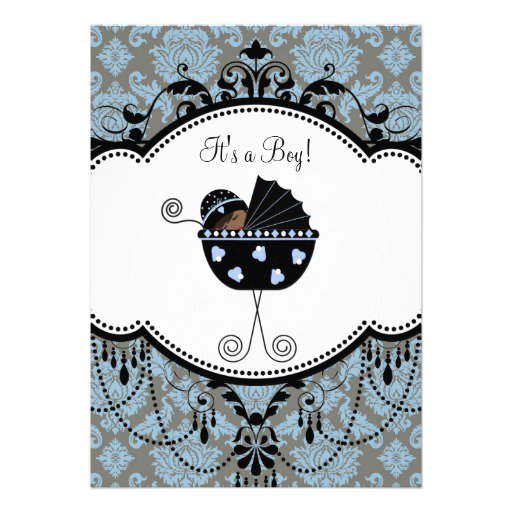 Black Damask Baby Shower Invitations