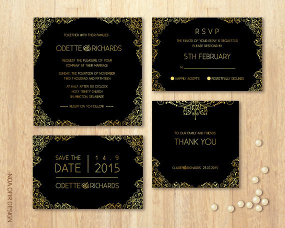 Black Wedding Invitation Sets
