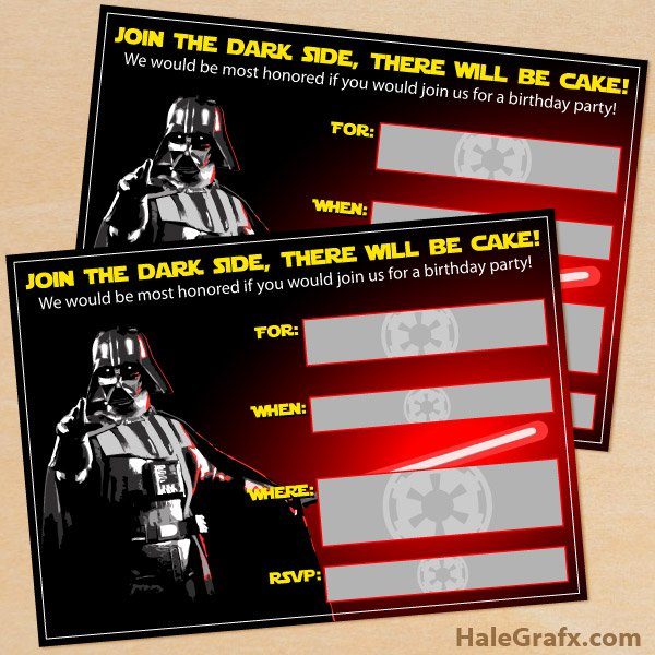 Blank Star Wars Invitations