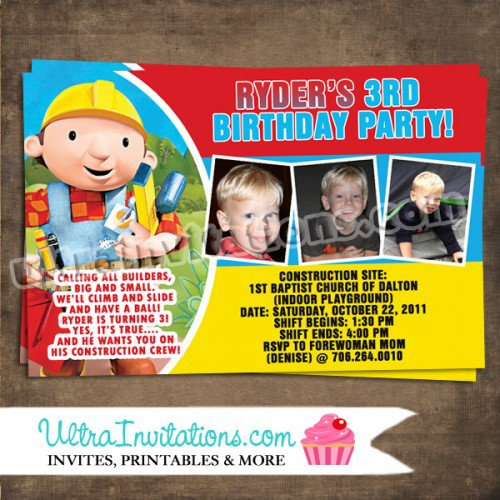 Bob The Builder Invitations Free