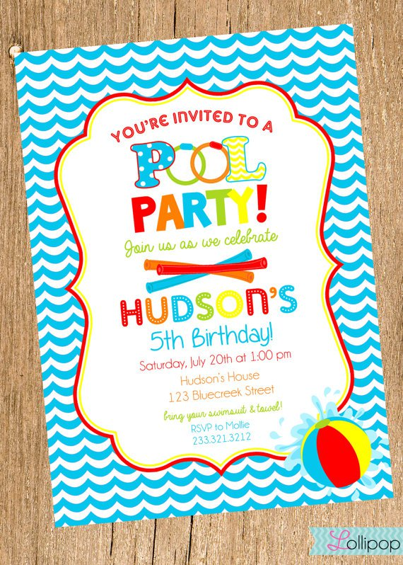 Boy Swimming Birthday Party Invitations