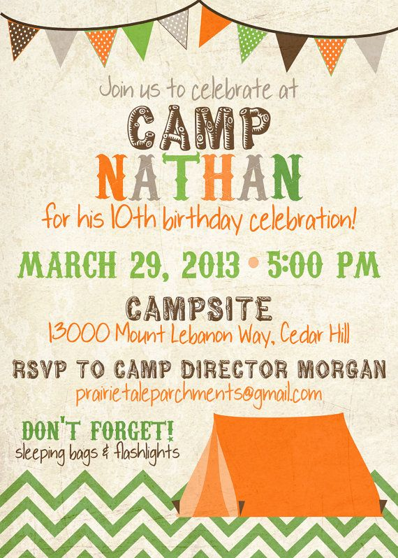 Boys Camping Birthday Party Invitations