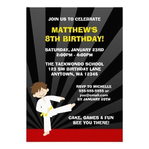 Boys Karate Birthday Invitations