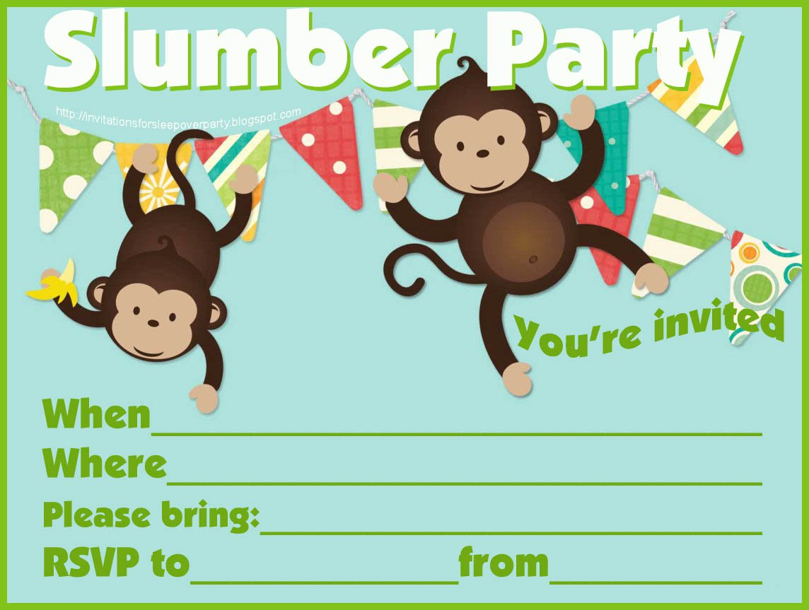 Boys Sleepover Invitations Free Printable