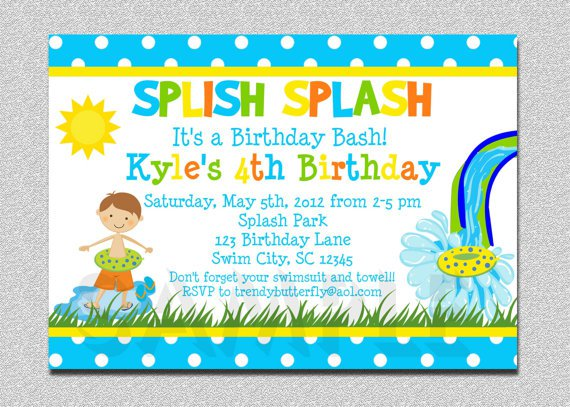 Boys Swimming Birthday Party Invitations