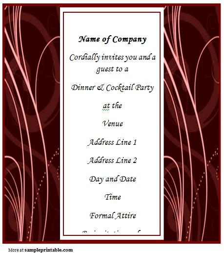 Business Dinner Invitation Template Word