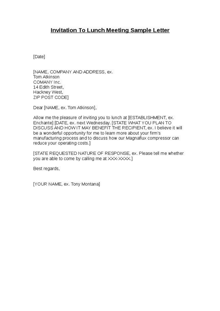 Business Lunch Invitation Letter