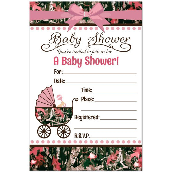 Camo Invitations Baby Shower
