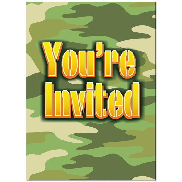 Camo Invitations Birthday
