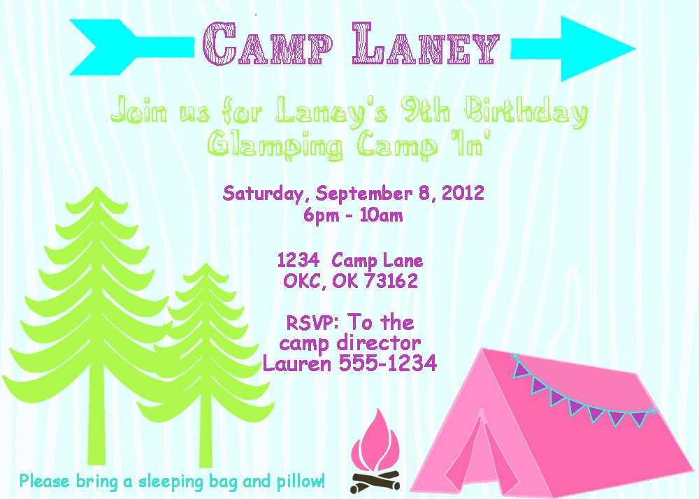 Camping Birthday Party Invitation Templates