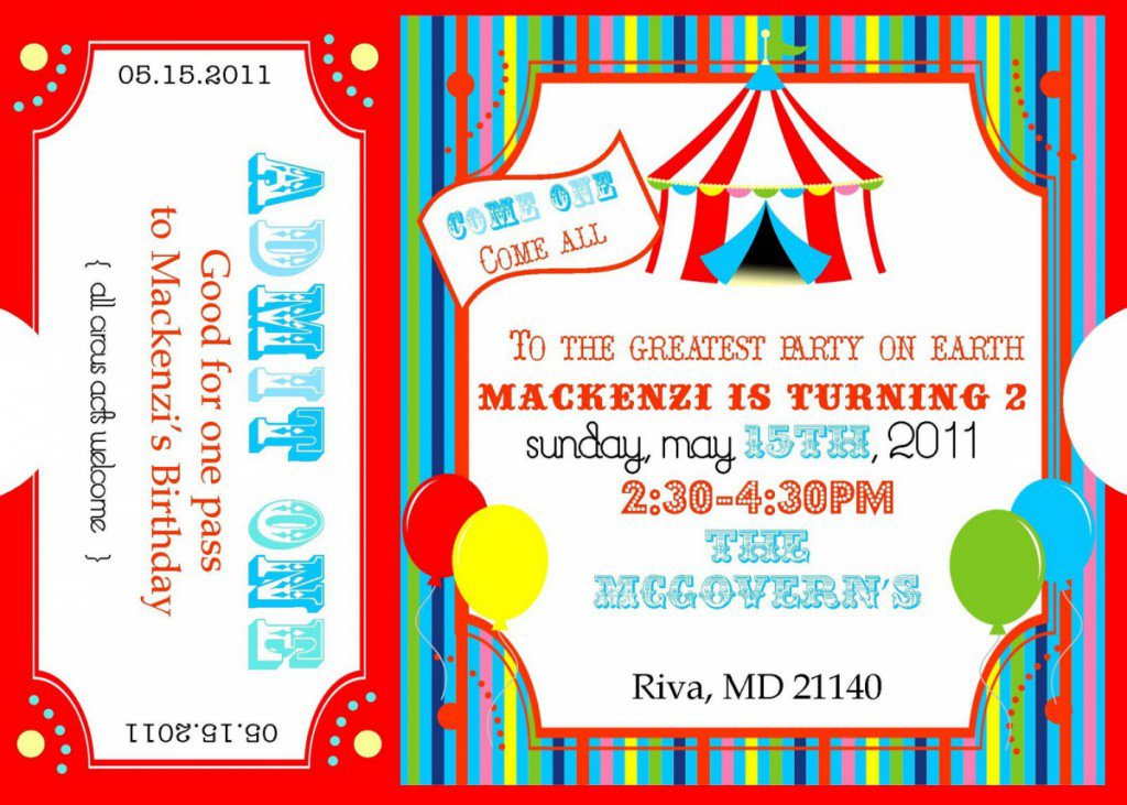 Carnival Ticket Invitations Printable