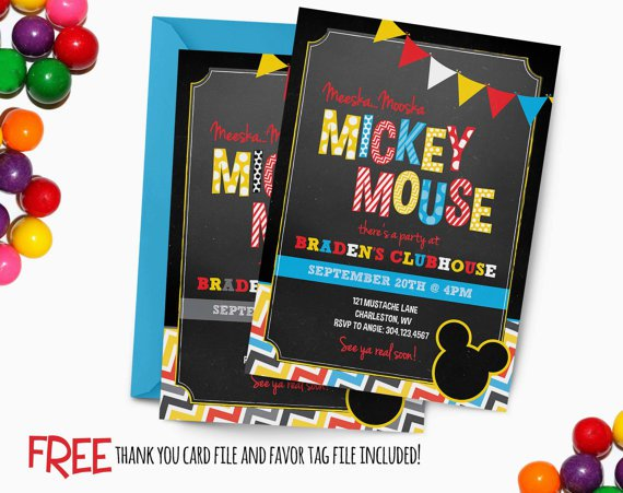 Chalkboard Mickey Mouse Clubhouse Invitations