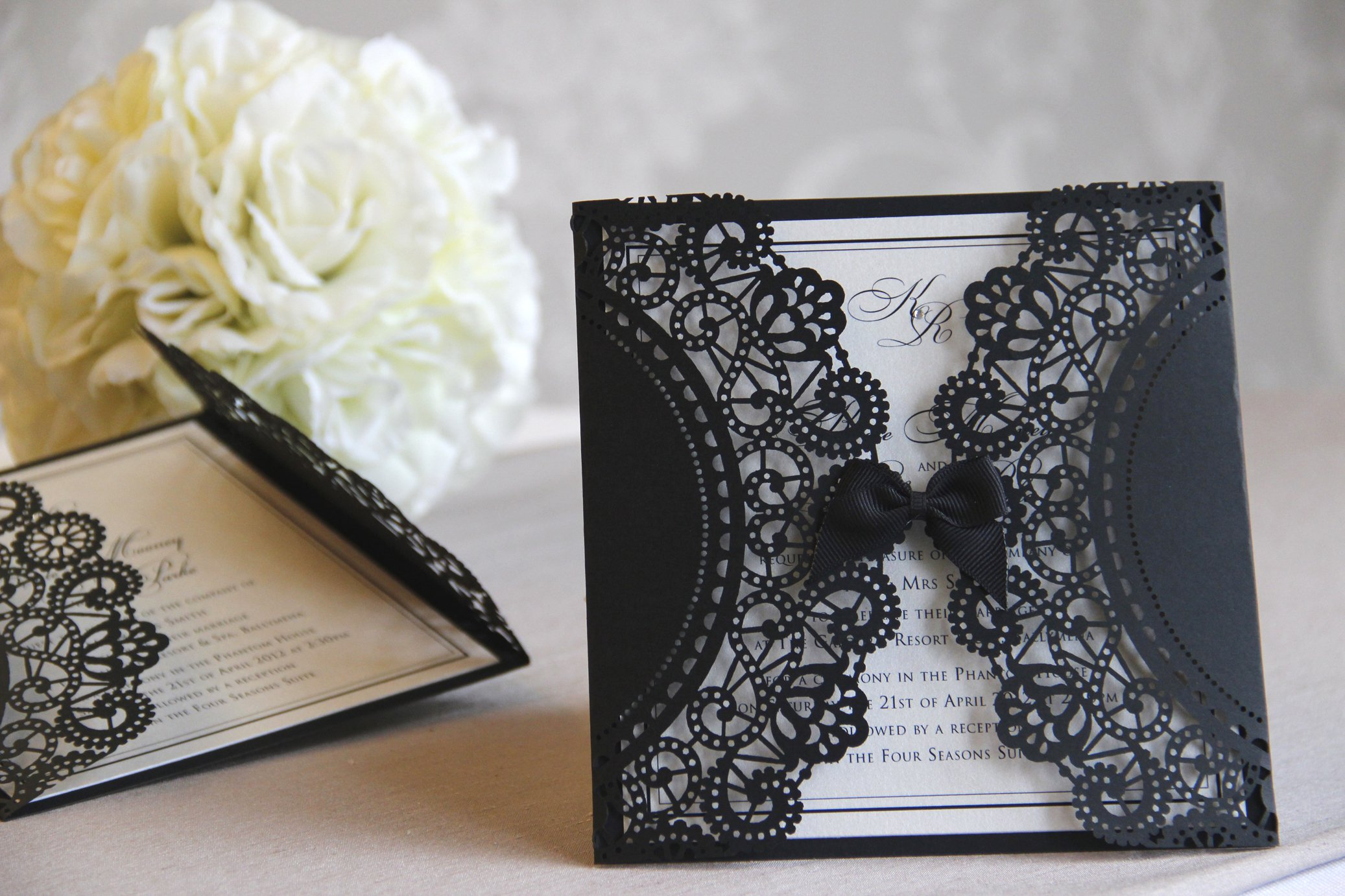 Cheap Black Lace Wedding Invitations