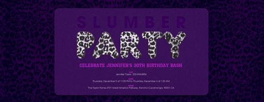 Cheetah Party Invitations Sleep Over