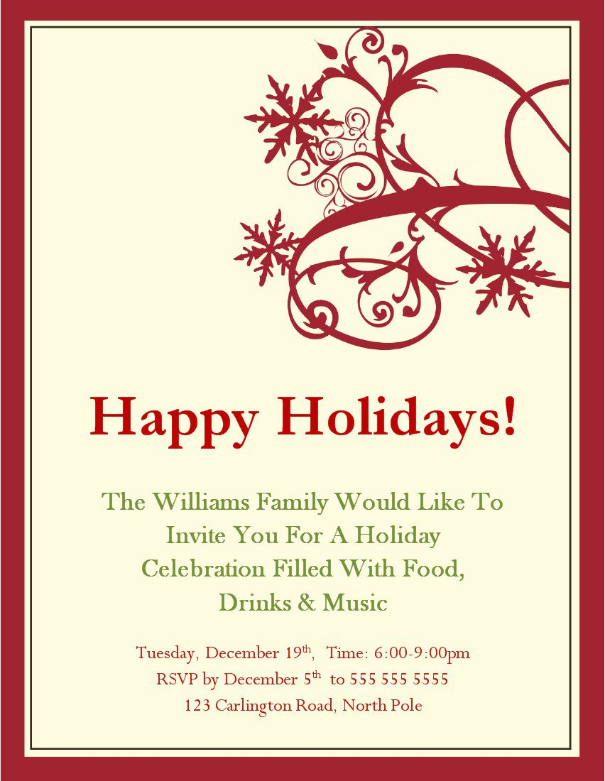 Christmas Card Invitations Templates