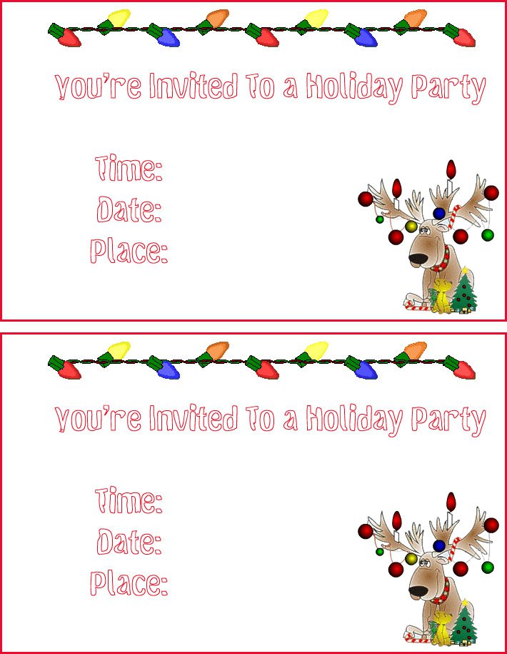 Christmas Invitation Cards Printable