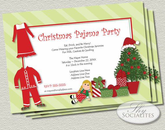 Christmas Pajama Party Invitation Ideas
