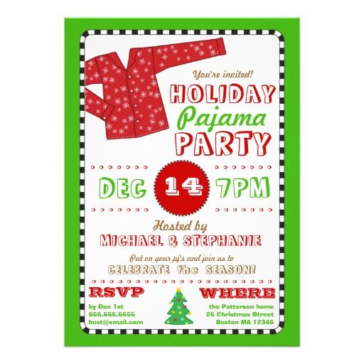 Christmas Pajama Party Invitation Wording