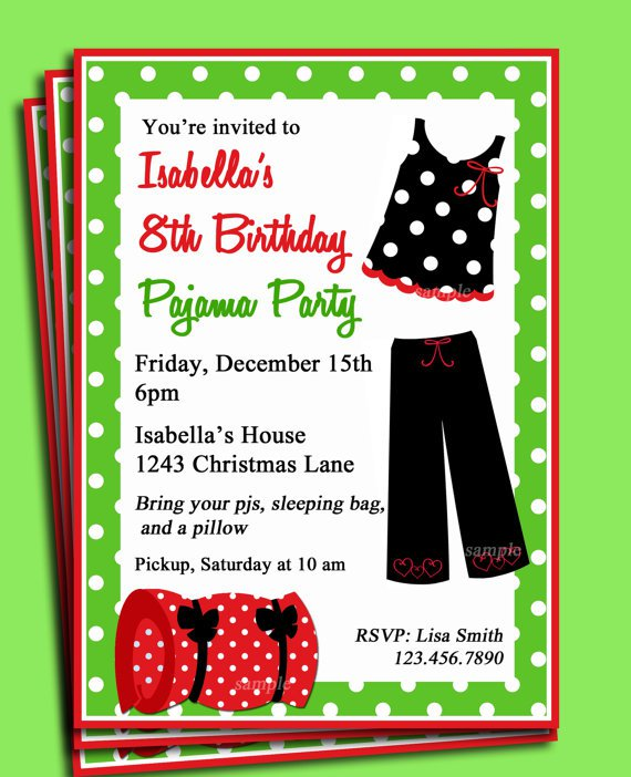 Christmas Pajama Party Invitations Words